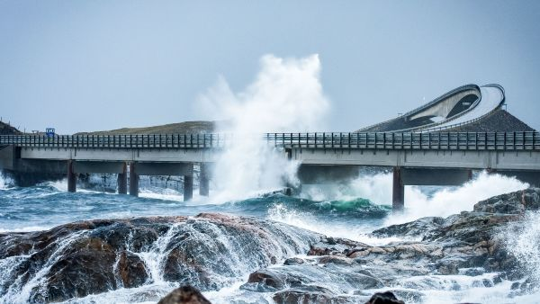 The Atlantic Ocean Road with curvy roads and bridges.