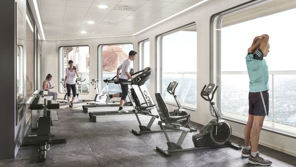 Gym with people. Copyright Havila Voyages