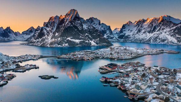 Islands in Lofoten in winter.