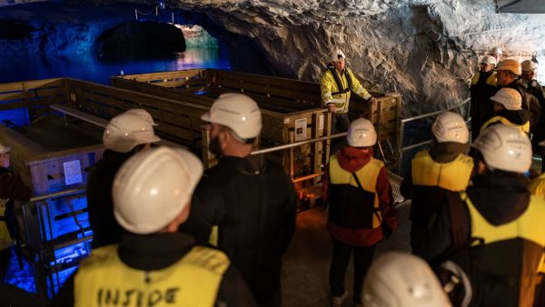 Guiding in a marble mine outside Kristiansund