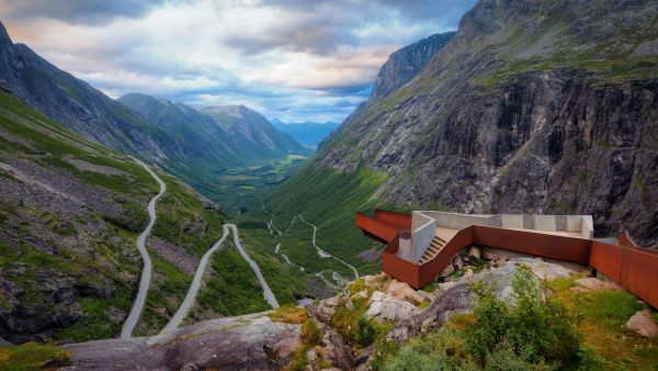 Roads and view point of Trollstigen in Norway.