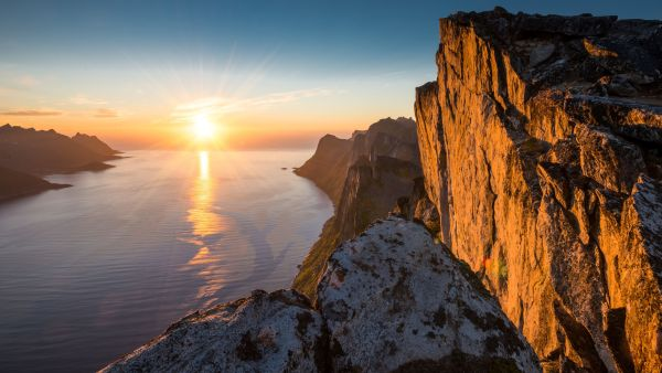 Segla mountain in midnightsun.