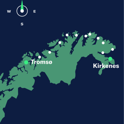 map tromso–kirkenes north