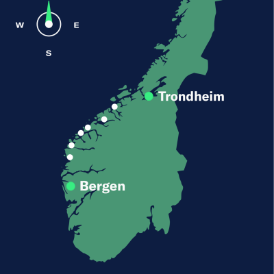 map bergen–trondheim north