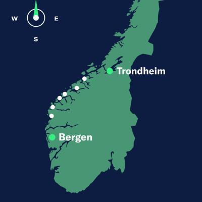 map bergen–trondheim north