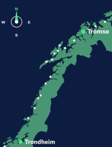 Green on blue map with top part of Norway showing Trondheim and Tromsø