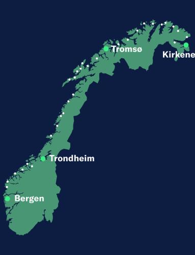 Map Norway Round voyage