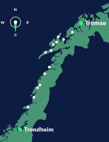 map trondheim-tromsø, south