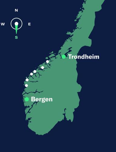 map trondheim–bergen, south