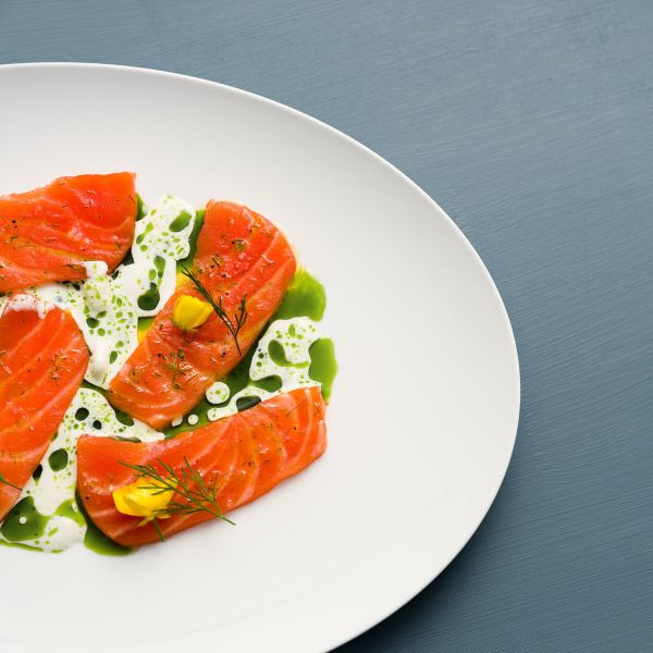 Norwegian salmon served on a plate. Photo: Marius Beck Dahle