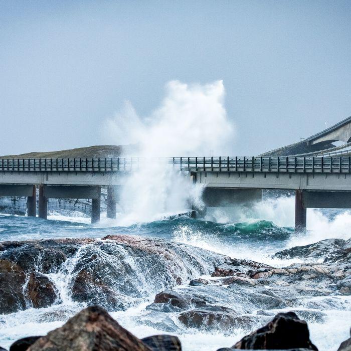 The Atlantic Ocean Road with curvy roads and bridges.