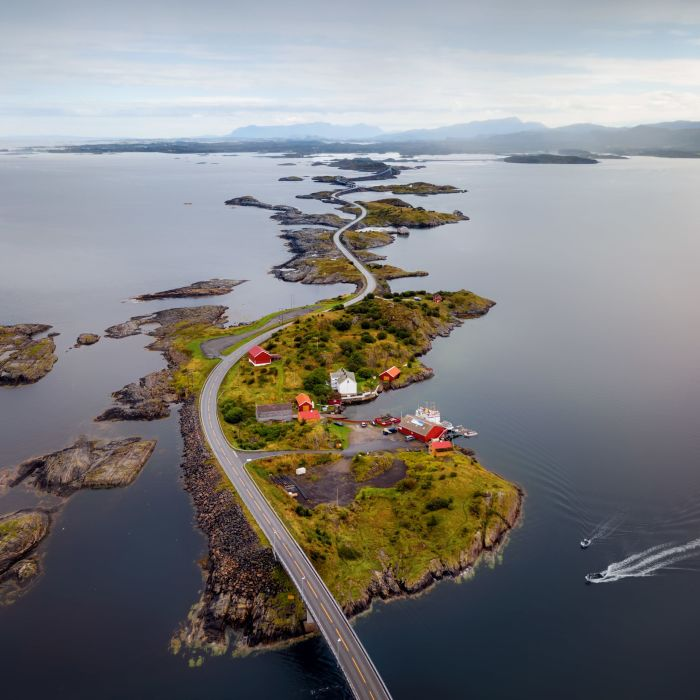 Atlantic Ocean road connected by bridges on small islands.