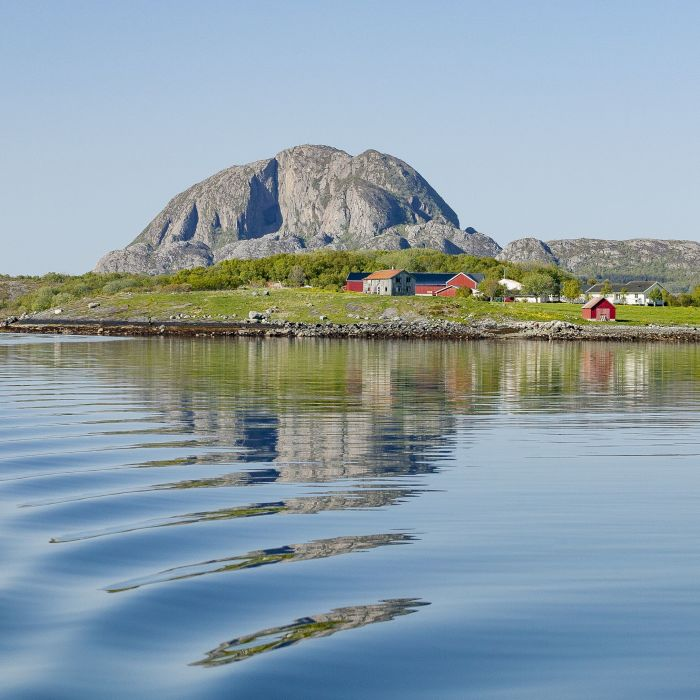 Torghatten mountain in summer.