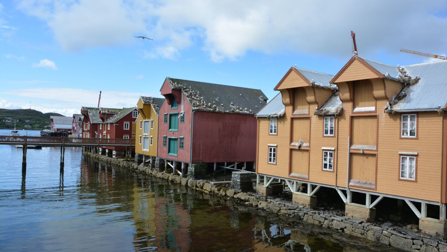 Old boathouses along the quay in Rørvik