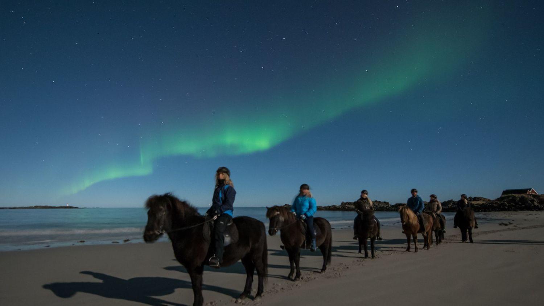 Folk som rir i nordlys i Lofoten