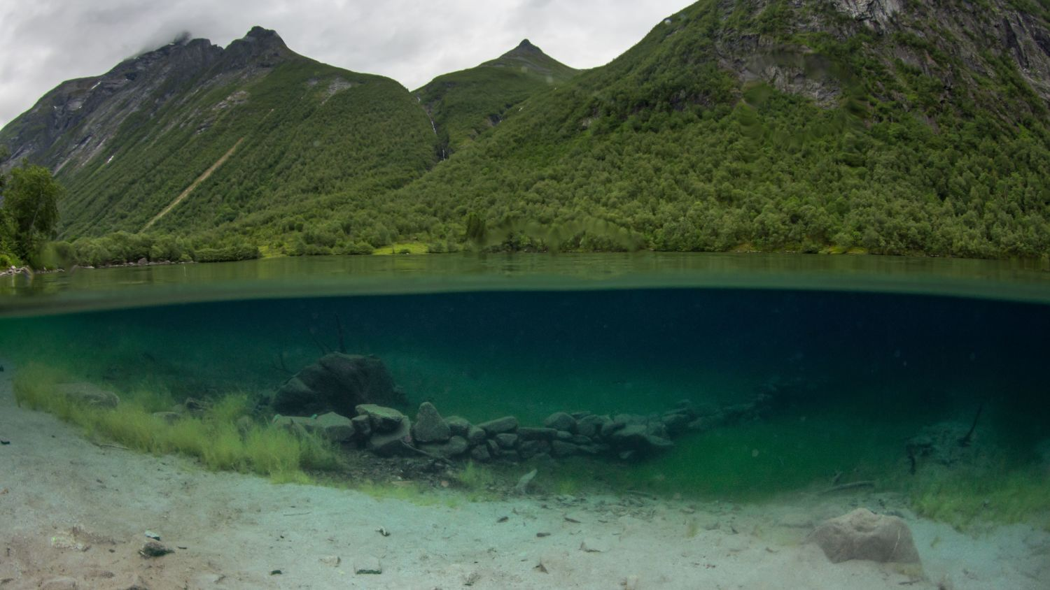 Lyngstøylvatnet where small farms where submerged. Photo: AdobeStock