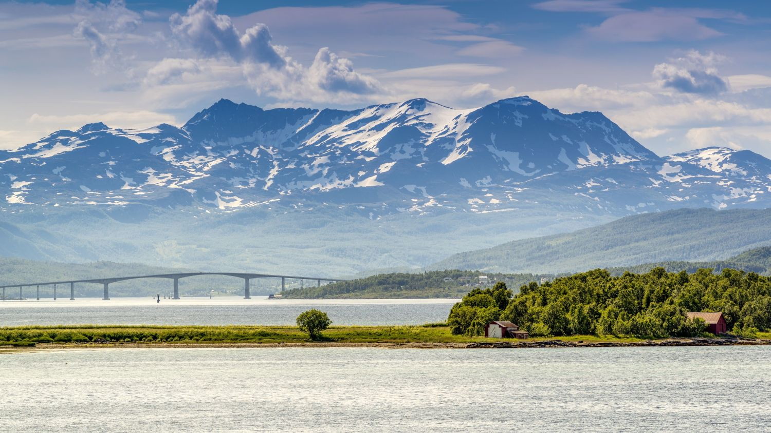 Mountains and the Gisund bridge in Finnsnes.