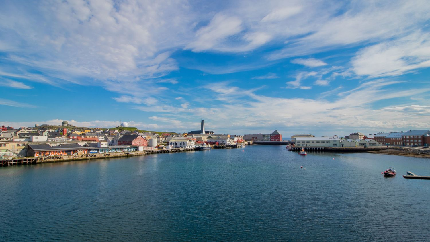 Port of Vardø seen from the seaside.