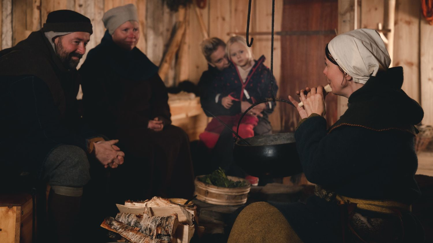 Family from the old days at Trondenes medieval farm. Photo: Andre Askeland