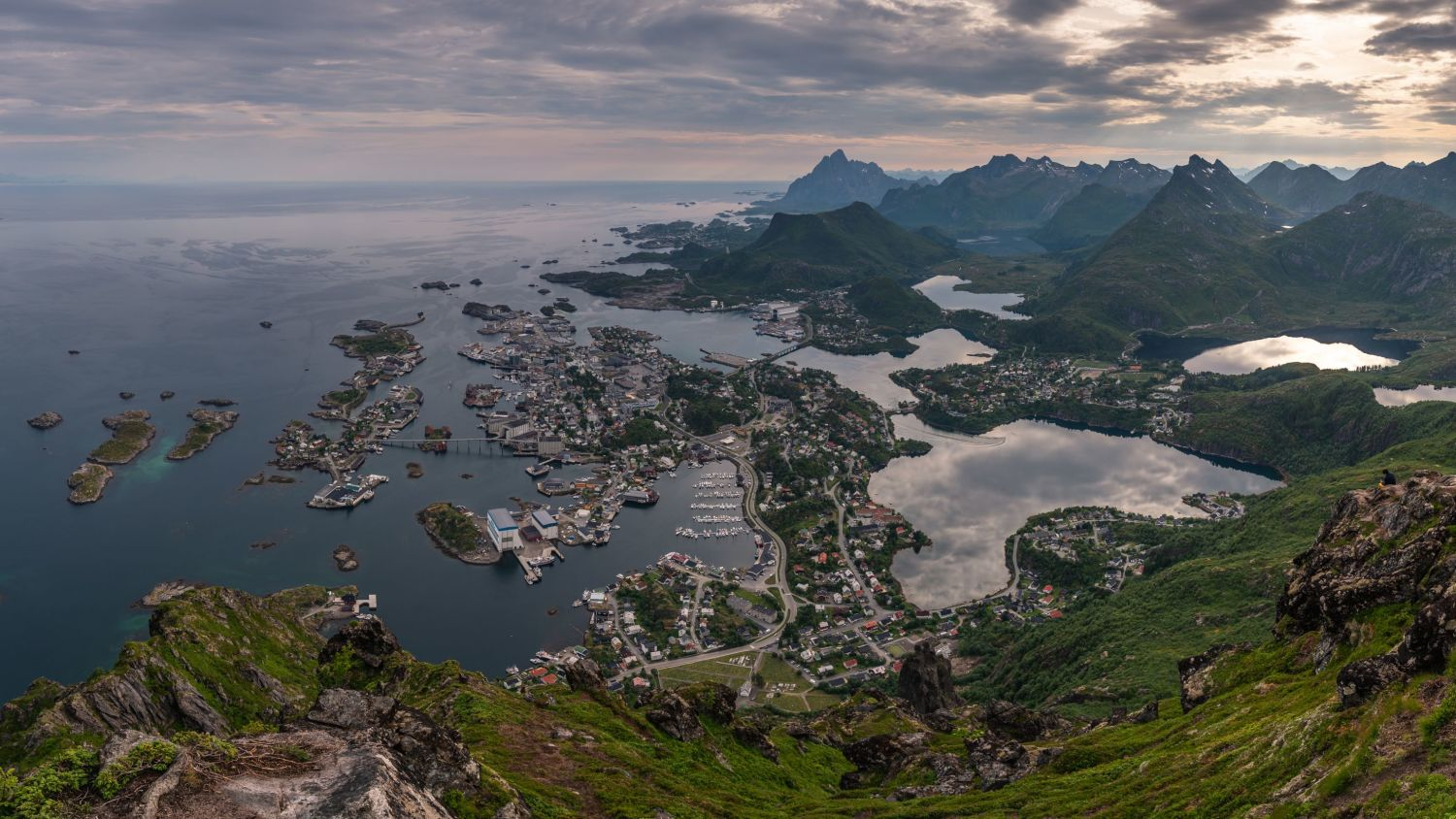 Svolvær in the Lofoten Islands seen from the mountain Floya.