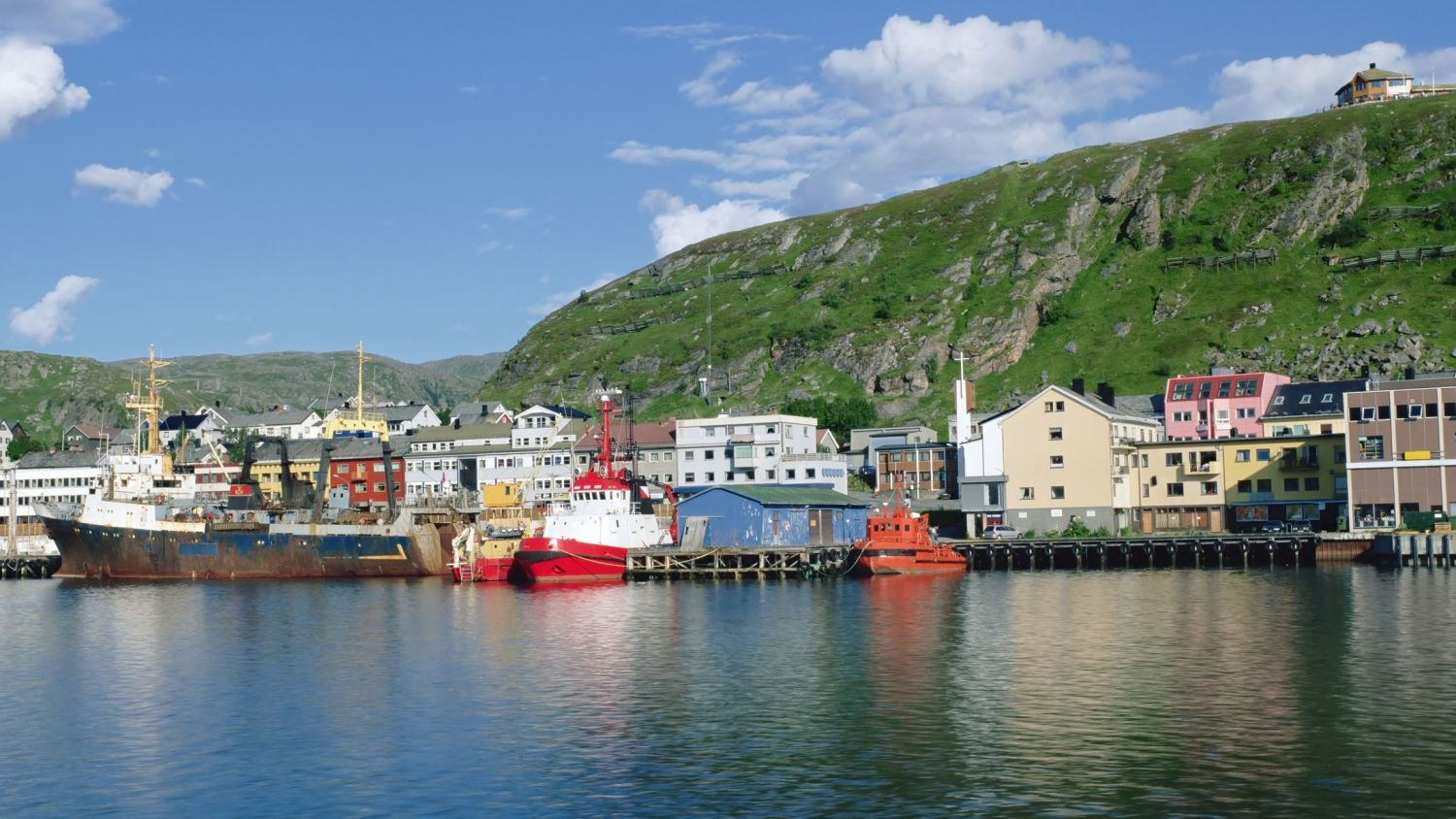 Kirkenes from seaside in the summer.