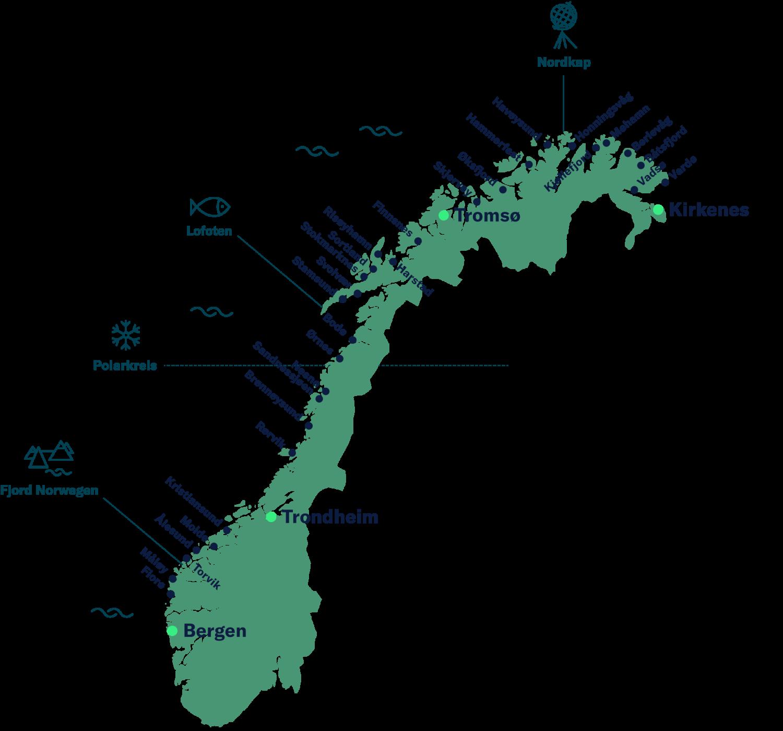 Karte über Norwegen