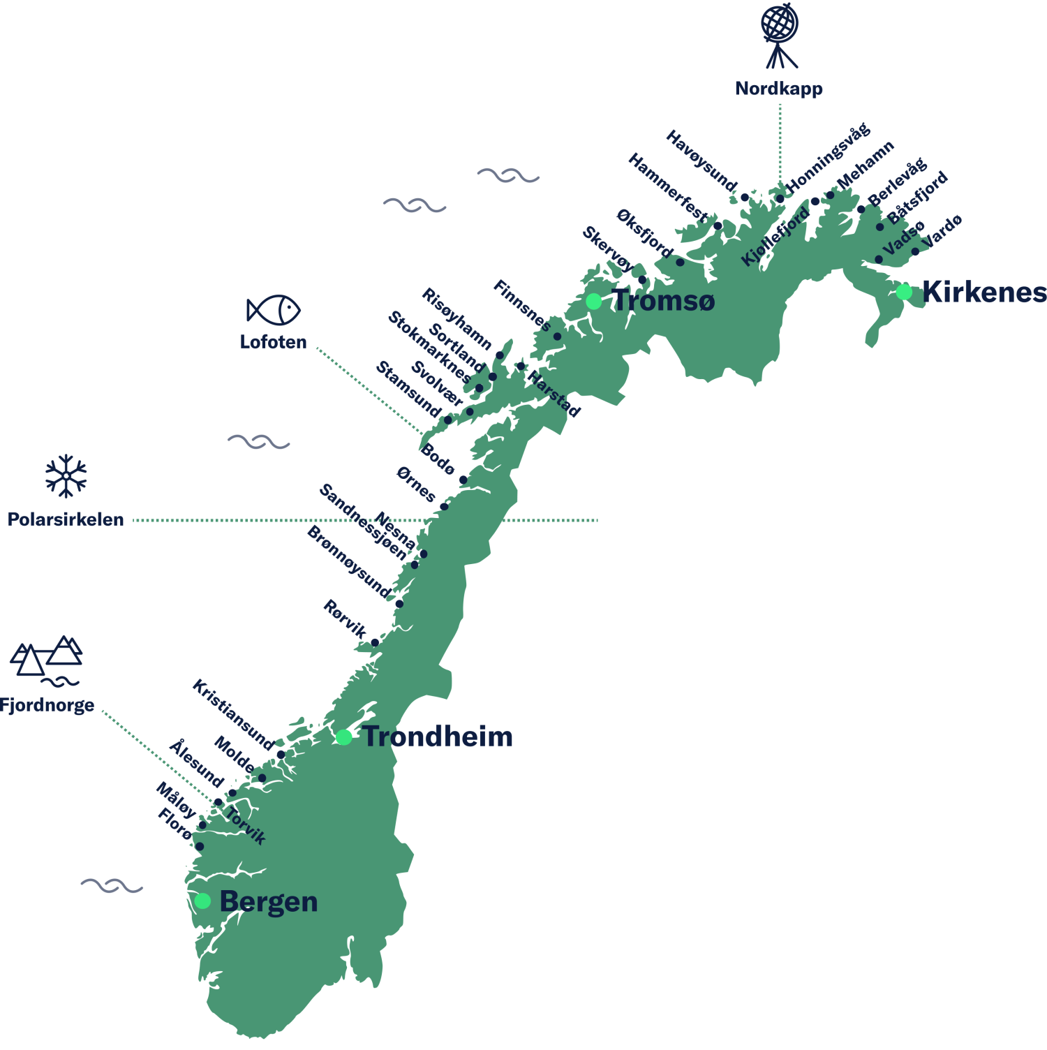 Map of Norway showing ports serviced by Havila.