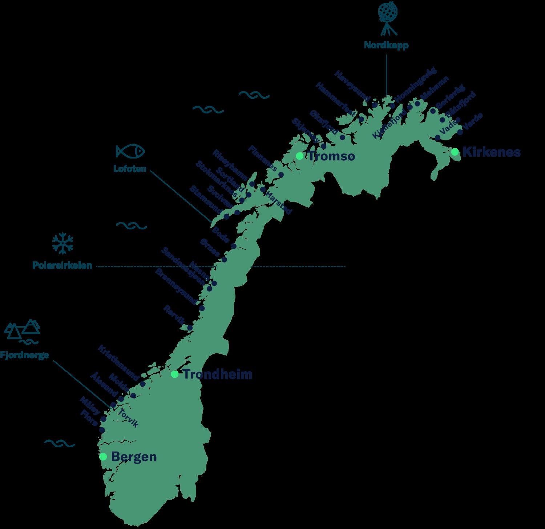 Norgeskart med Havila Kystrutens havner.