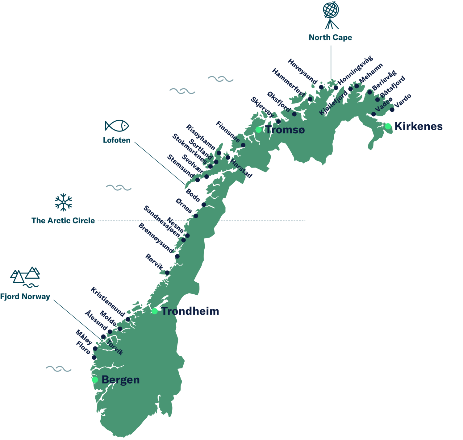 Map over Norway and the coastal route ports.