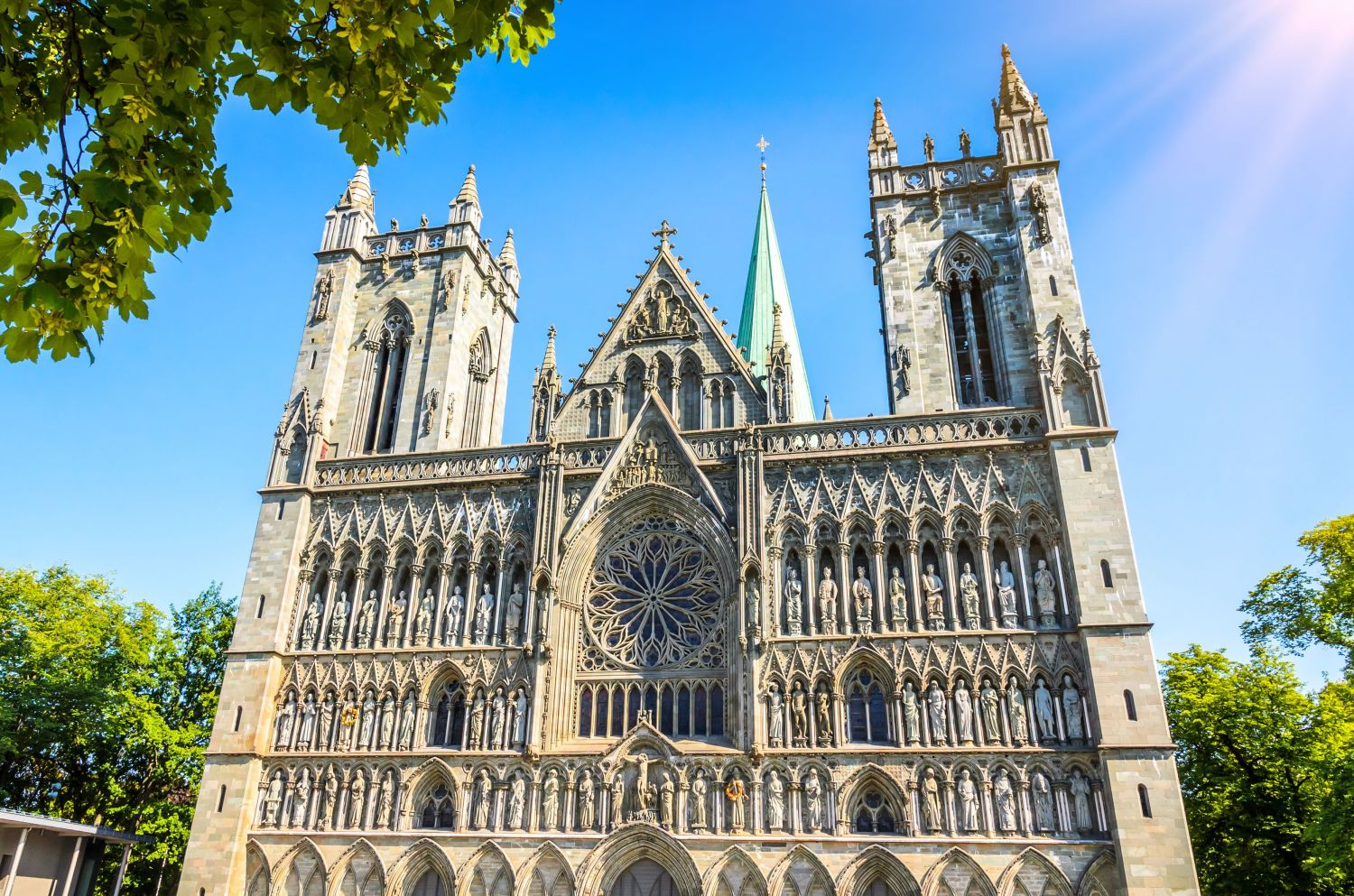 The Nidaros Cathedral in the summer in Trondheim