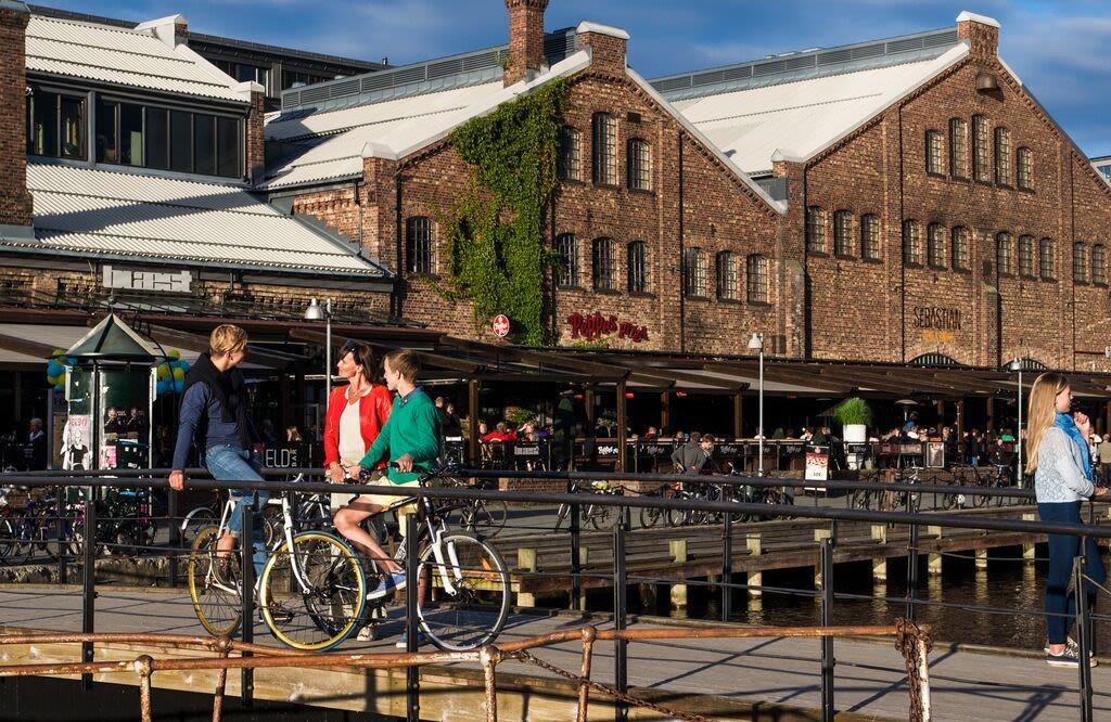 Trondheim. Bysykling. Solsiden.