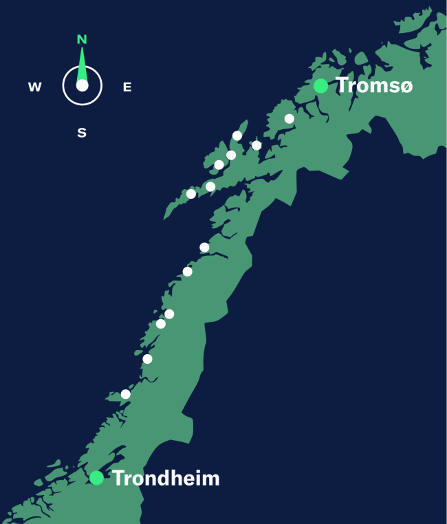 map trondheim-tromso, north