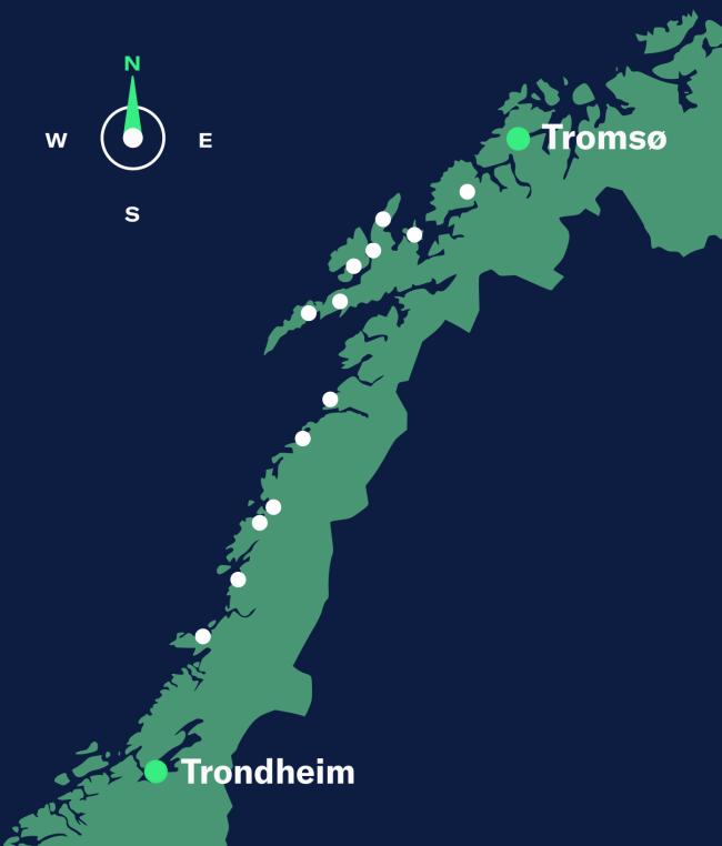 map trondheim-tromso, north