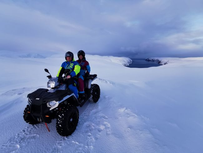 Quadbiking at the Northcape in the winter
