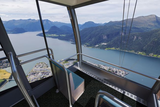 Romsdalsgondolen, view from the cable car towards the fjords. Illustration.
