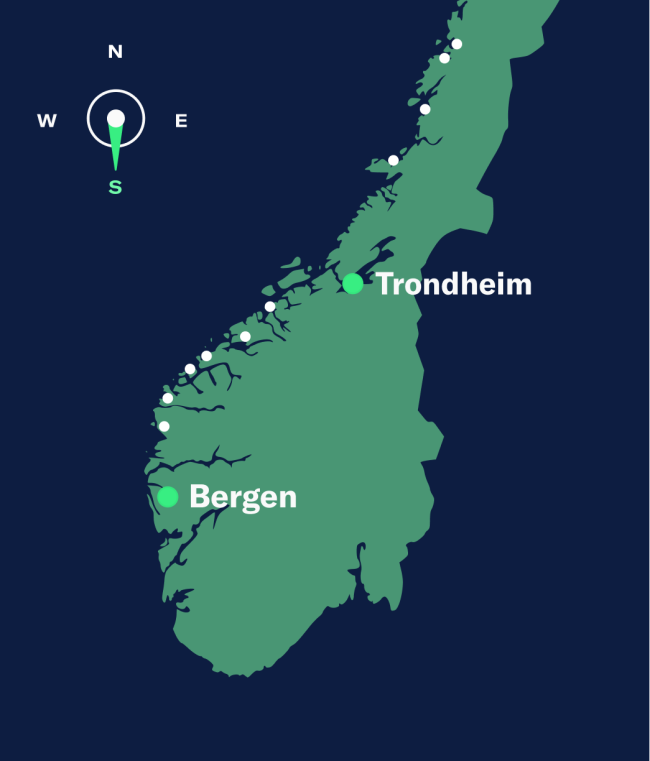 Simple map showing Trondheim–Bergen