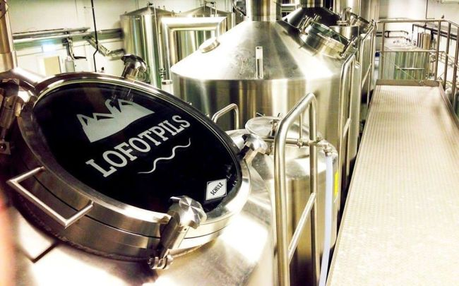 Tank and production in Lofoten Brewery