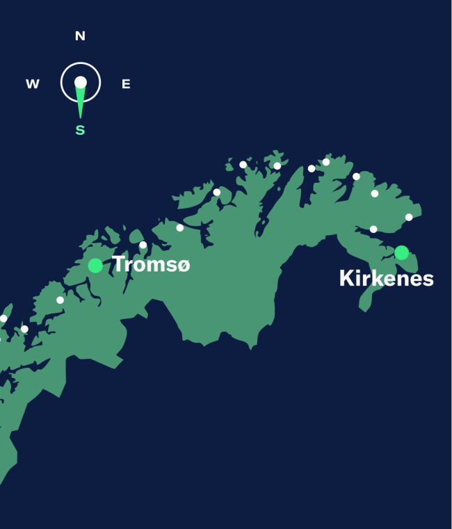 Simple map showing Kirkenes–Tromsø