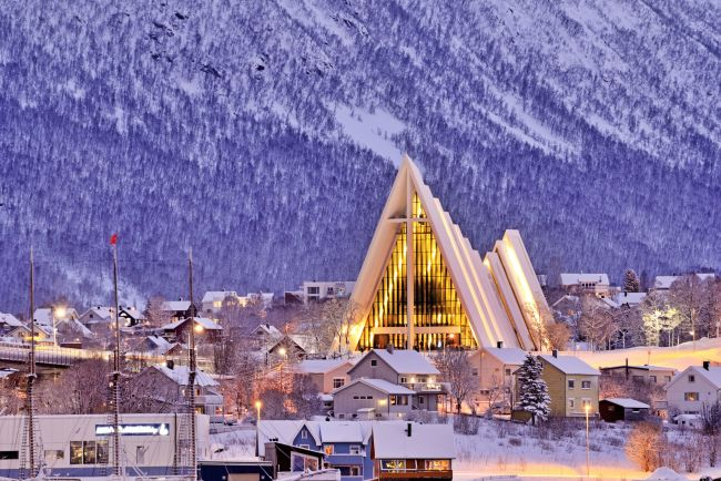 Cathedral in winter in Tromsø.
