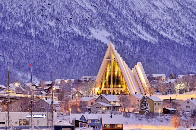 Cathedral in winter in Tromsø.