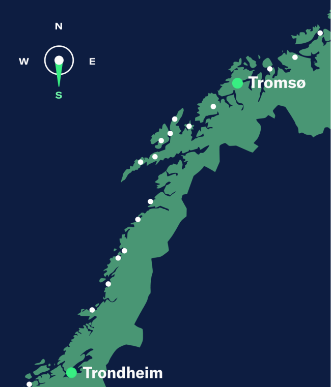 Simple map showing Tromsø–Trondheim