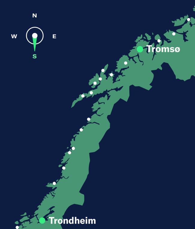 Simple map showing Tromsø–Trondheim