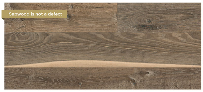 Sapwood is a natural characteristic of real wood floors