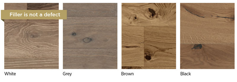 Filler is to be expected in wood flooring and is not a product defect