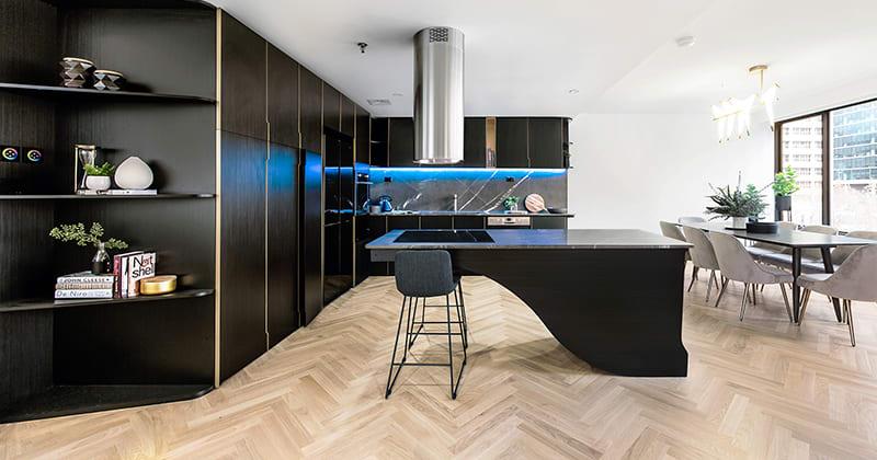 Melbourne Penthouse Showcasing Havwoods Pallido Herringbone Timber Flooring