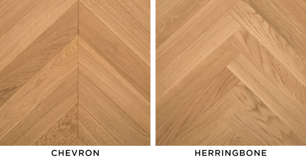 The difference between chevron and herringbone patterns