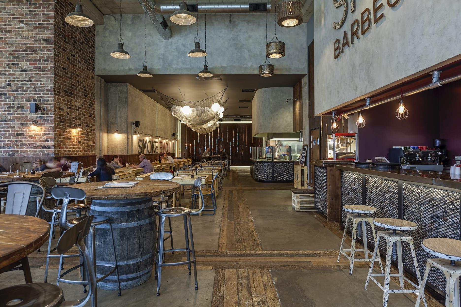 Reclaimed Barn Oak Timber Smoke Bbq Restaurant Uk