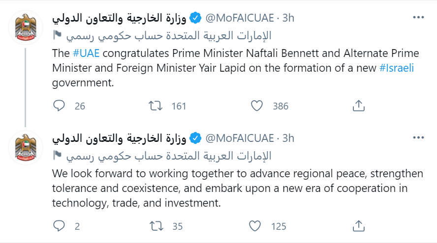 In historic first, United Arab Emirates congratulates new Israeli government: 'We look forward to working together to advance regional peace'
