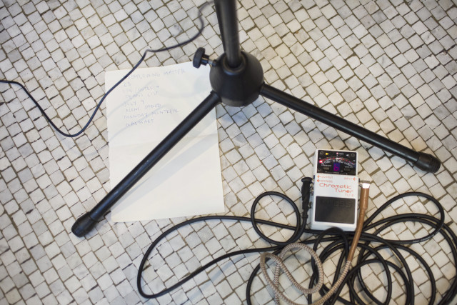Music cords on a cafe floor photo by Rachel McCord Creative