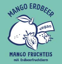 Mangofruchteis mit Erdbeerfruchtkern